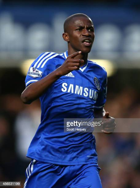 Ramires of Chelsea celebrates scoring their second goal during the Barclays Premier League match between Chelsea and Crystal Palace at Stamford...