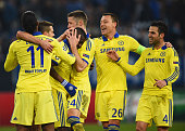Ramires of Chelsea celebrates with team mates as he scores their fifth goal during the UEFA Champions League Group G match between FC Schalke 04 and...