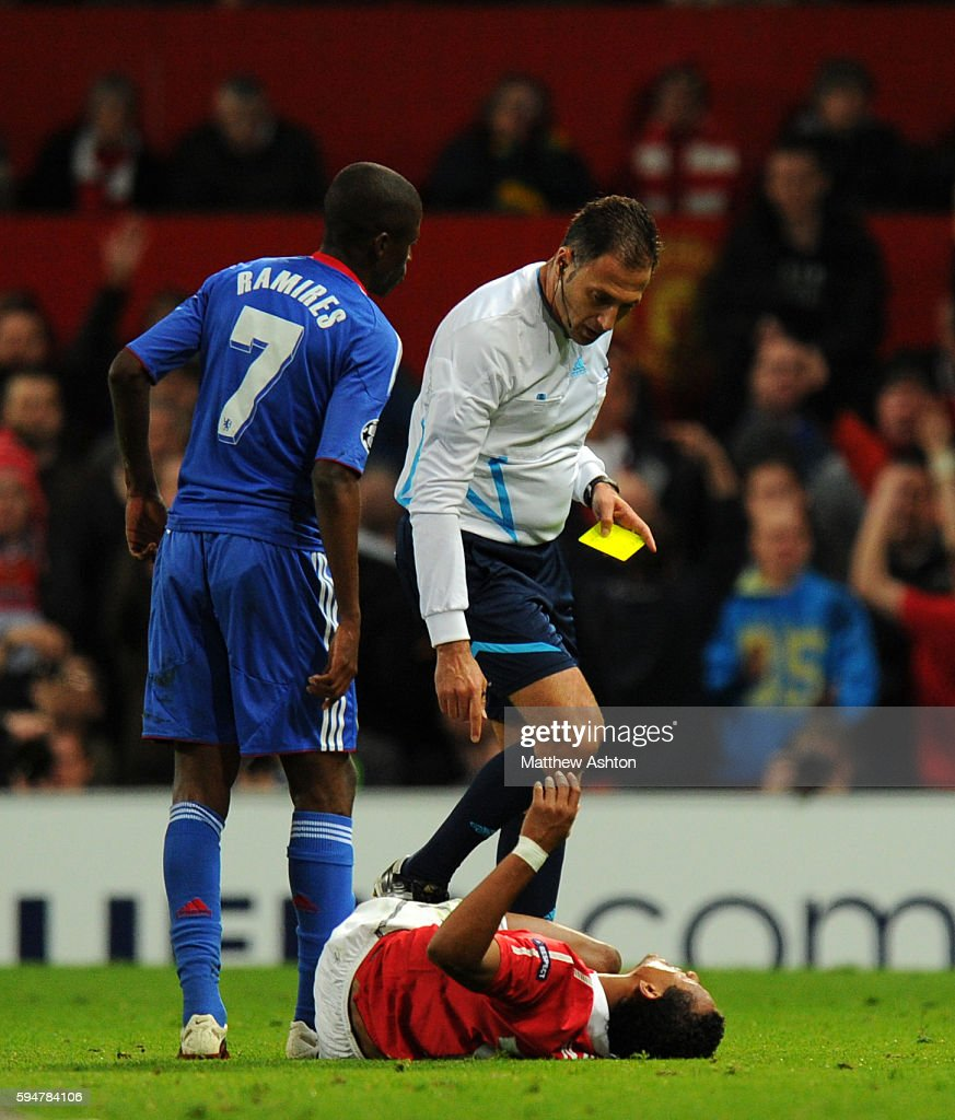 Ramires of Chelsea gets sent off for a tackle on Nani of Manchester United