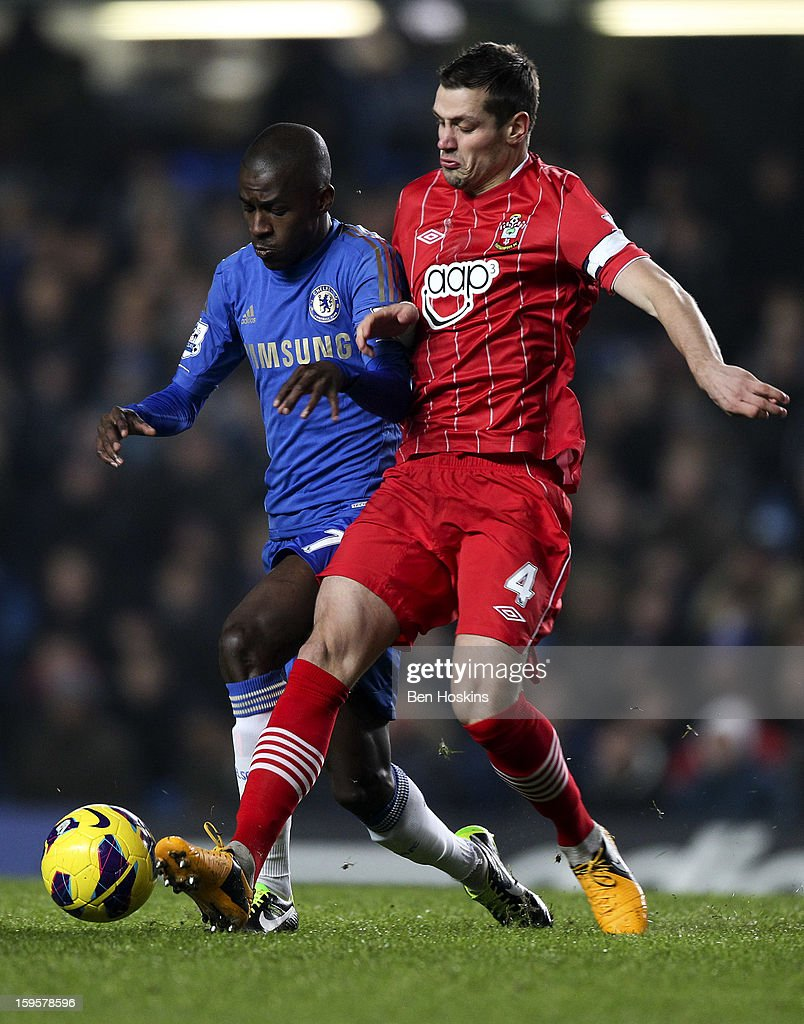 Ramires of Chelsea is tackled by <a gi-track='captionPersonalityLinkClicked' href=/galleries/search?phrase=Morgan+Schneiderlin&family=editorial&specificpeople=4191360 ng-click='$event.stopPropagation()'>Morgan Schneiderlin</a> of Southampton during the Barclays Premier League match between Chelsea and Southampton at Stamford Bridge on January 16, 2013 in London, England.