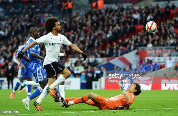 Ramires of Chelsea score's his side's third goal over Carlo Cudicini of Tottenham Hotspur during the FA Cup with Budweiser Semi Final match between...