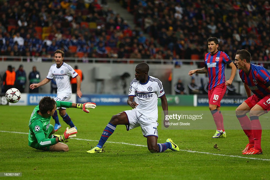 Ramires of Chelsea scores the opening goal during the UEFA Champions League Group E Match between FC Steaua Bucuresti and Chelsea at the National Arena Stadium on October 1, 2013 in Bucharest, Romania.