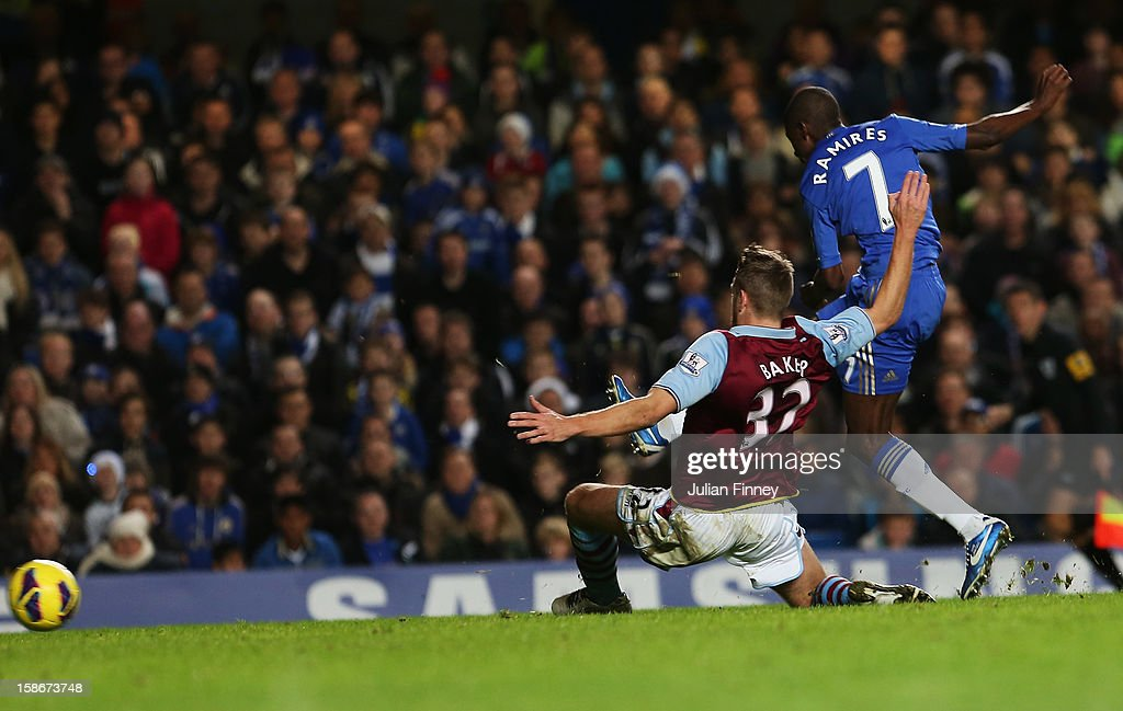 Ramires of Chelsea shoots past Nathan Baker of Aston Villa to score their fifth goal during the Barclays Premier League match between Chelsea and Aston Villa at Stamford Bridge on December 23, 2012 in London, England.