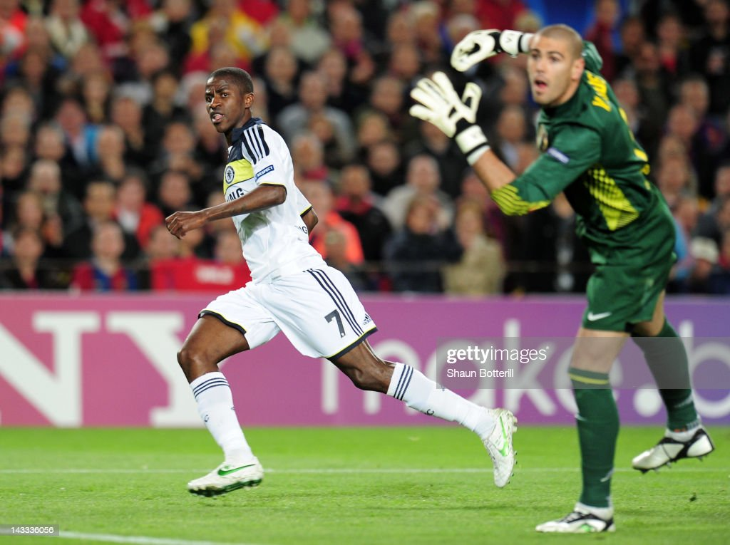 Ramires of Chelsea turns to celebrate scoring their first goal during the UEFA Champions League Semi Final, second leg match between FC Barcelona and Chelsea FC at Camp Nou on April 24, 2012 in Barcelona, Spain.