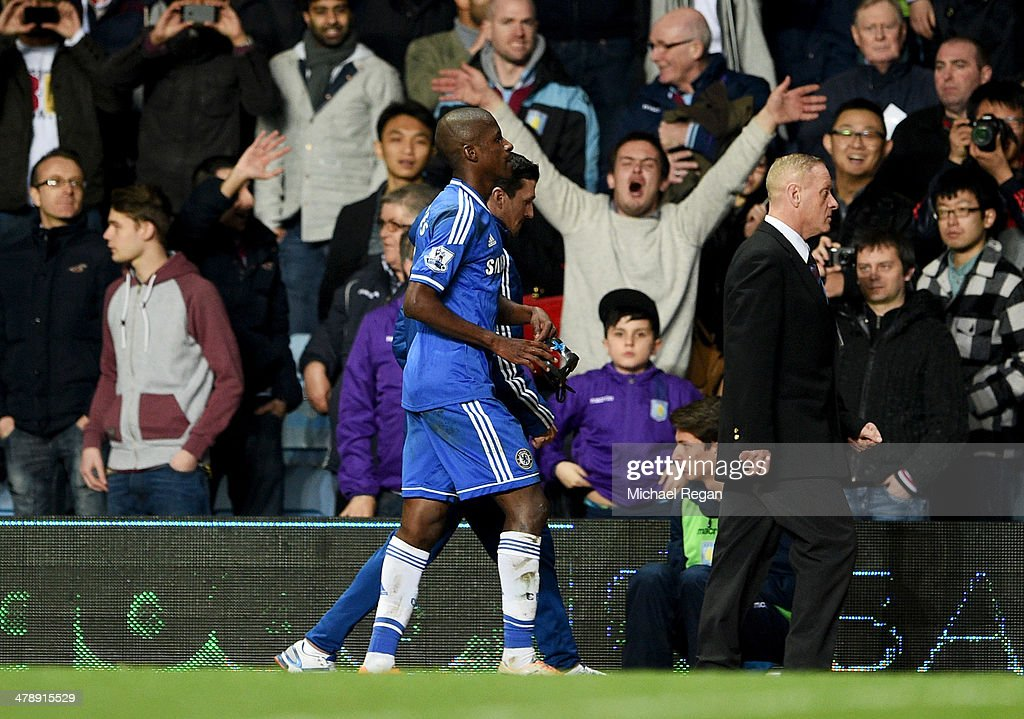 Ramires of Chelsea walks along the touchline as he is sent off during the Barclays Premier League match between Aston Villa and Chelsea at Villa Park on March 15, 2014 in Birmingham, England.