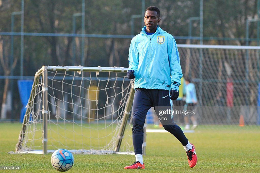 Ramires of Jiangsu Suning attends a training session at Nanjing Olympic Sports Center on February 18 2016 in Nanjing Jiangsu Province of China