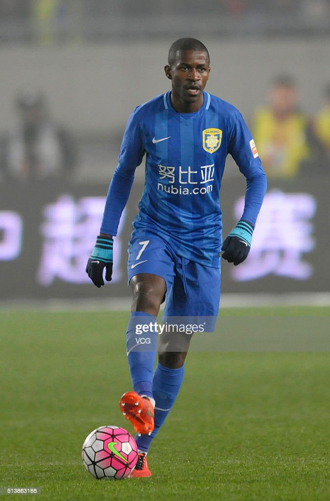Ramires of Jiangsu Suning drives the ball during the first round match of CSL Chinese Football Association Super League between Jiangsu Suning and...