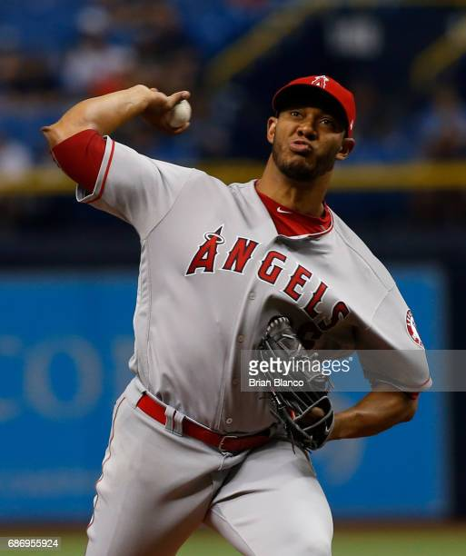 Ramirez of the Los Angeles Angels pitches during the first inning of a game against the Tampa Bay Rays on May 22 2017 at Tropicana Field in St...