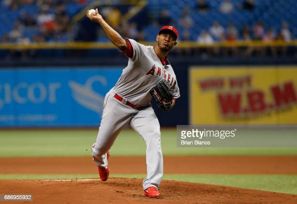 C Ramirez of the Los Angeles Angels pitches during the first inning of a game against the Tampa Bay Rays on May 22 2017 at Tropicana Field in St...