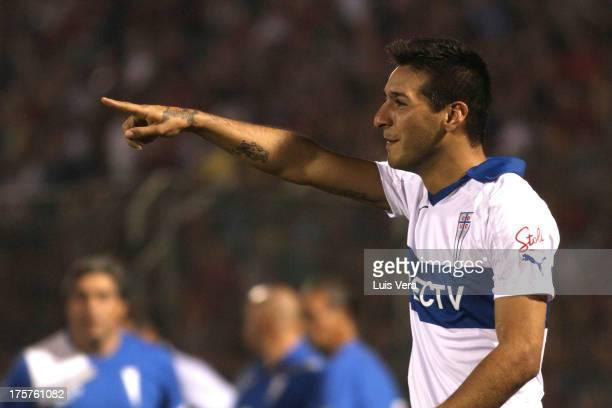 Ramiro Costa of Universidad Católica celebrates a scored goal during a match between Cerro Porteño and Universidad Católica as part of the Copa Total...