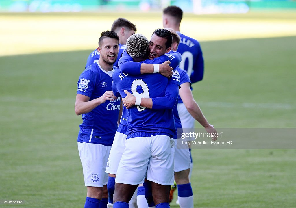 Ramiro Funes Mori celebrates his goal during the Barclays Premier League match between Everton and Southampton at Goodison Park on April 16, 2016 in Liverpool, England.