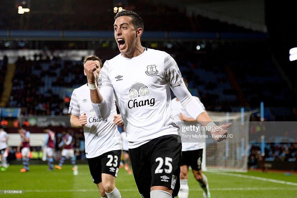 Ramiro Funes Mori celebrates his team's third goal during the Barclays Premier League match between Aston Villa and Everton at Villa Park on March 01, 2016 in Birmingham, England.