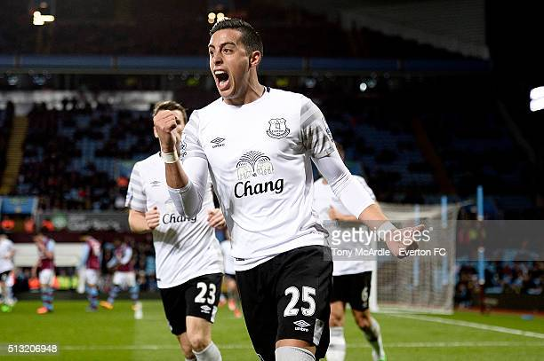 Ramiro Funes Mori celebrates his team's third goal during the Barclays Premier League match between Aston Villa and Everton at Villa Park on March 01...