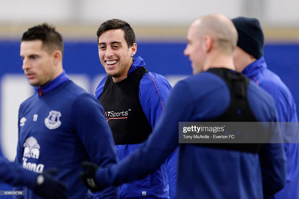 Ramiro Funes Mori during the Everton training session at Finch Farm on February 11, 2016 in Halewood, England.