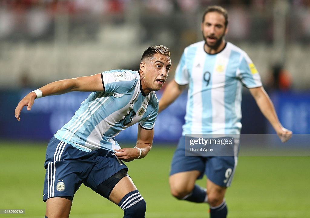 Ramiro Funes Mori of Argentina celebrates after scoring the first goal during a match between Peru and Argentina as part of FIFA 2018 World Cup Qualifiers at Nacional Stadium on October 06, 2016 in Lima, Peru.