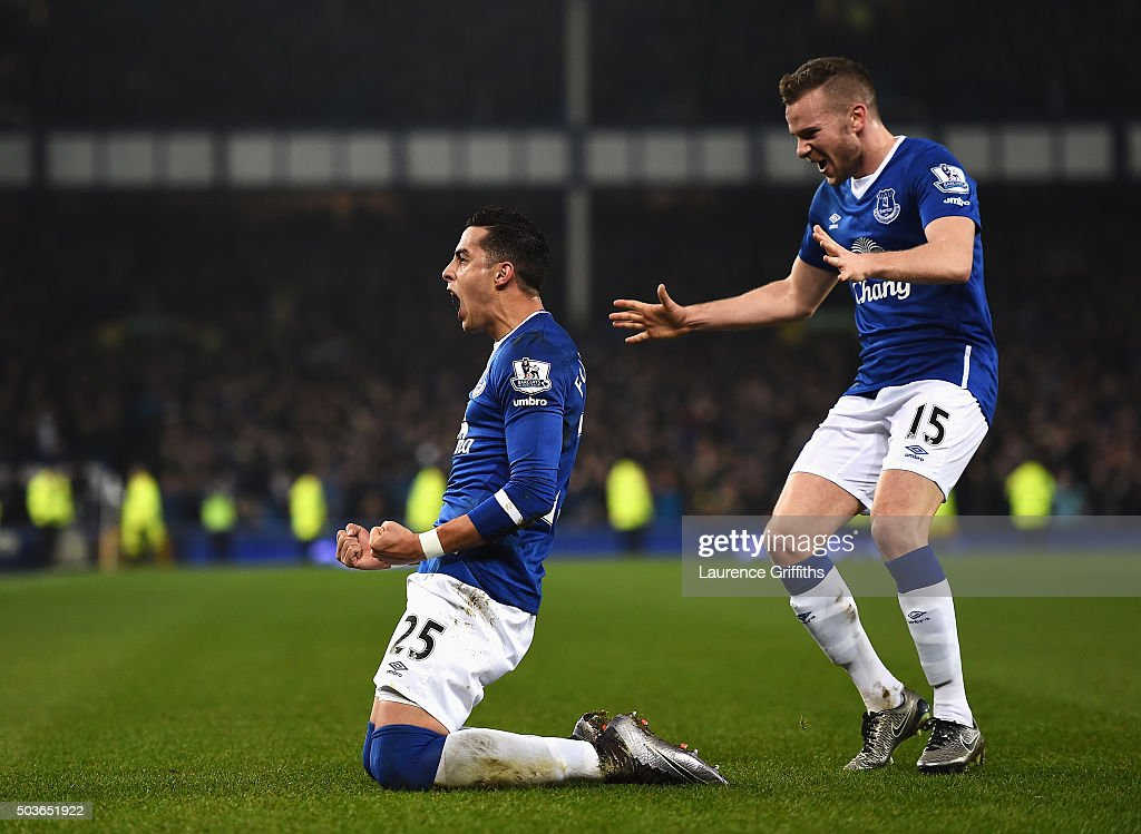 Ramiro Funes Mori of Everton celebrates scoring the opening goal with Tom Cleverley of Everton during the Capital One Cup Semi Final First Leg match between Everton and Manchester City at Goodison Park on January 6, 2016 in Liverpool, England.