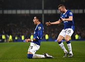 Ramiro Funes Mori of Everton celebrates scoring the opening goal with Tom Cleverley of Everton during the Capital One Cup Semi Final First Leg match...