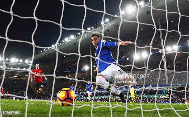 Ramiro Funes Mori of Everton fails to stop the ball crossing the line as Zlatan Ibrahimovic of Manchester United scores their first goal during the...