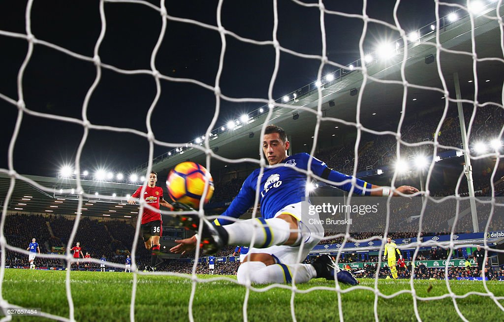 Ramiro Funes Mori of Everton fails to stop the ball crossing the line as Zlatan Ibrahimovic of Manchester United scores their first goal during the Premier League match between Everton and Manchester United at Goodison Park on December 4, 2016 in Liverpool, England.