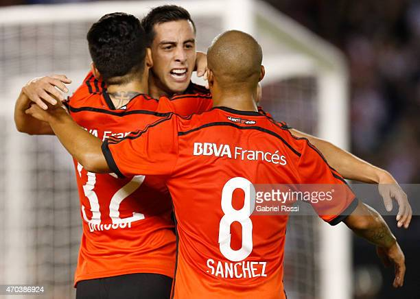 Ramiro Funes Mori of River Plate and teammates celebrate their team's second goal during a match between River Plate and Banfield as part of 10th...