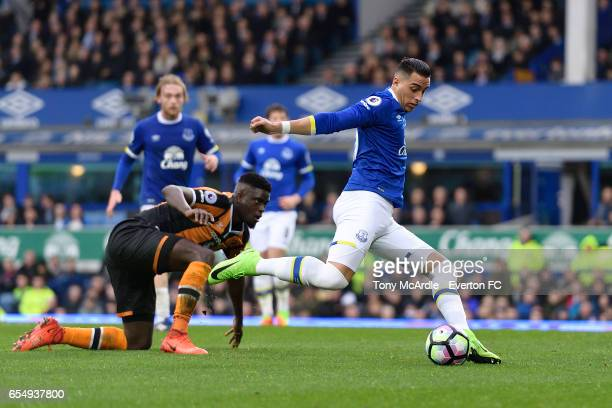 Ramiro Funes Mori with a chance on goal during the Premier League match between Everton and Hull City at the Goodison Park on March 18 2017 in...