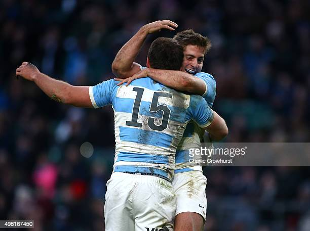 Ramiro Moyano of Argentina celebrates scoring his try with team mate Santiago Cordero during the Killik Cup match between Barbarians v Argentina at...