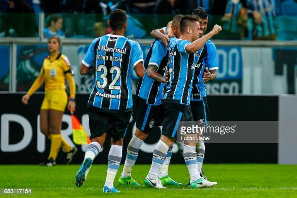 Ramiro of Gremio celebrates their second goal during the match Gremio v Botafogo as part of Brasileirao Series A 2017 at Arena do Gremio on May 14...