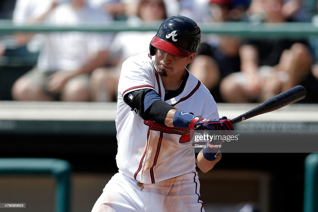 <a gi-track='captionPersonalityLinkClicked' href=/galleries/search?phrase=Ramiro+Pena&family=editorial&specificpeople=809222 ng-click='$event.stopPropagation()'>Ramiro Pena</a> #14 of the Atlanta Braves swings at a pitch in the third inning of a game against the St. Louis Cardinals at Champion Stadium on March 15, 2014 in Lake Buena Vista, Florida. St. Louis won the game 6-2.