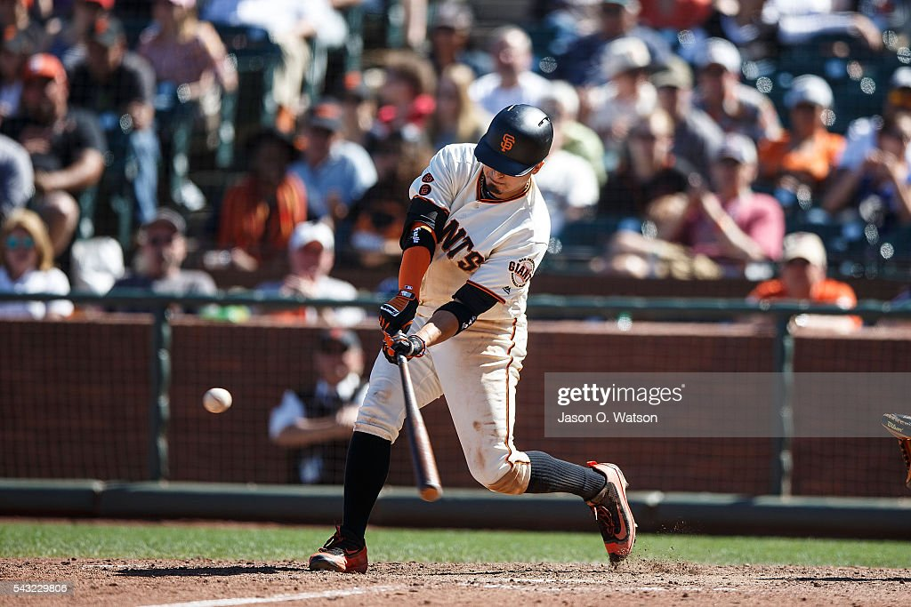 <a gi-track='captionPersonalityLinkClicked' href=/galleries/search?phrase=Ramiro+Pena&family=editorial&specificpeople=809222 ng-click='$event.stopPropagation()'>Ramiro Pena</a> #1 of the San Francisco Giants hits a double against the Philadelphia Phillies during the ninth inning at AT&T Park on June 26, 2016 in San Francisco, California. The San Francisco Giants defeated the Philadelphia Phillies 8-7.