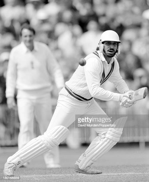 Ramiz Raja batting for Pakistan during the 1st Test match against England at Old Trafford in Manchester 9th June 1987 The match ended in a draw
