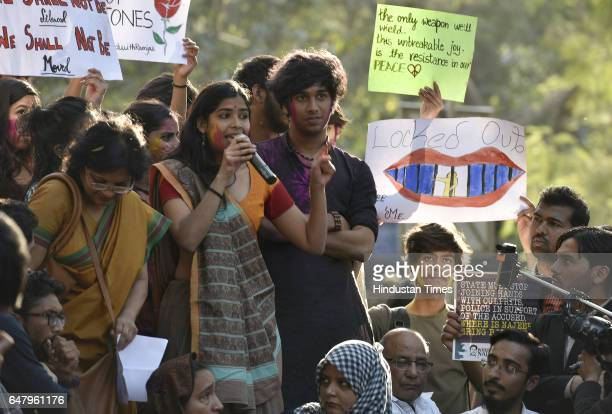 Ramjas Collge Students addressing to others students and Teachers during the citizens protest march for Justice and Save Delhi University from Mandi...