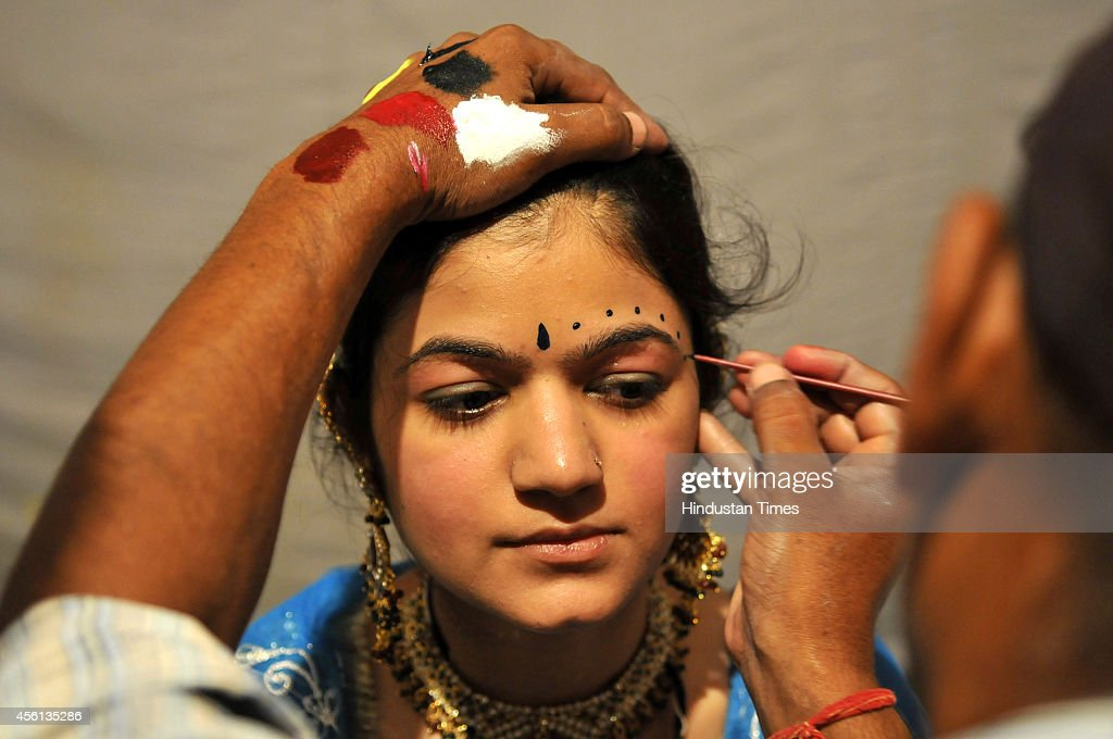 Ramlila actors getting ready backstage at Noida stadium on September 25 2014 in Noida India Ramlila is a dramatic folk reenactment of the life of...