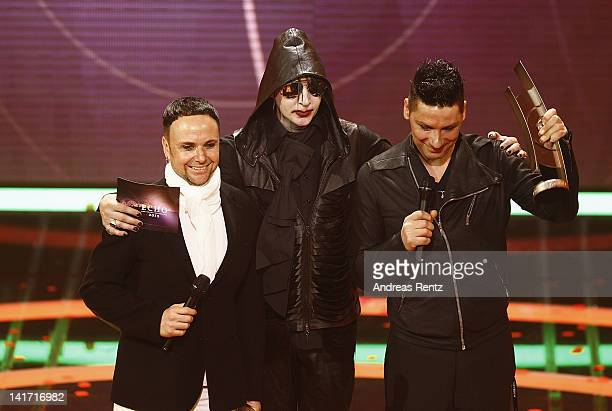 Rammstein and Marilyn Manson seen on stage after presenting the Rock / Alternative National Award at the Echo Awards 2012 at Palais am Funkturm on...