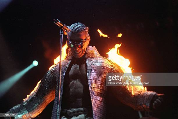 Rammstein burns during the Family Values tour at the Continental Arena