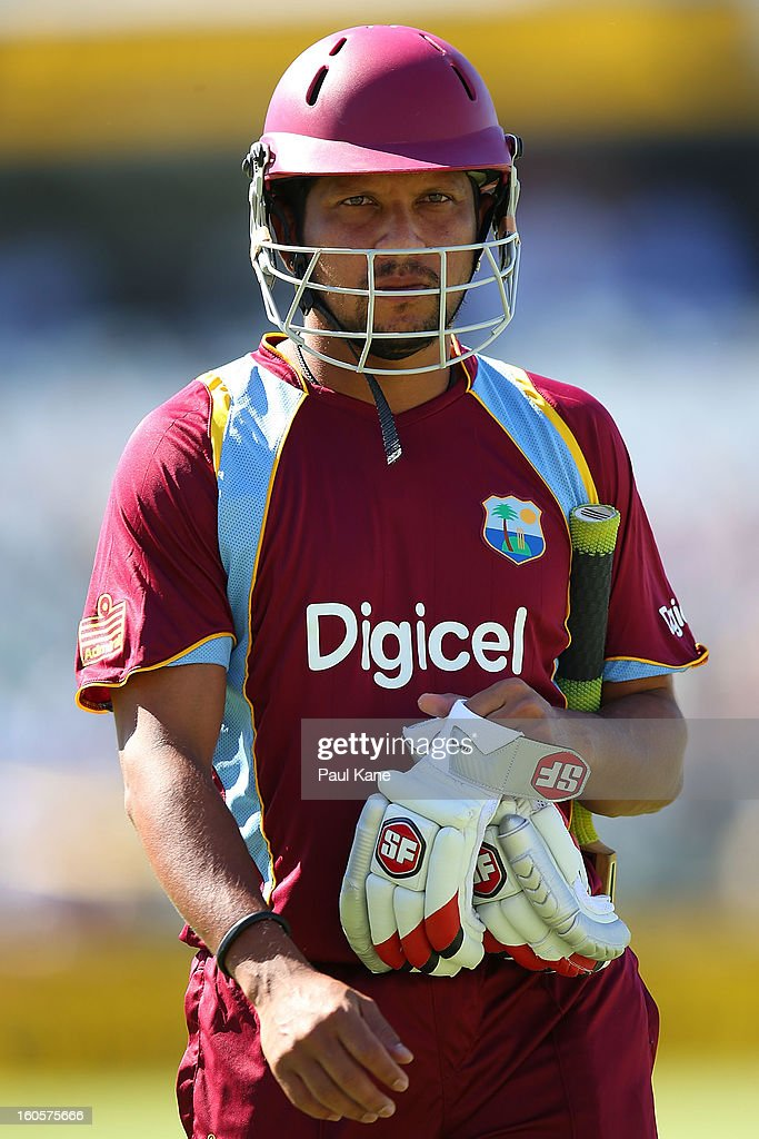 Ramnaresh Sarwan of the West Indies walks back to the rooms after being dimissed by Mitchell Starc of Australia during game two of the Commonwealth Bank One Day International Series between Australia and the West Indies at WACA on February 3, 2013 in Perth, Australia.