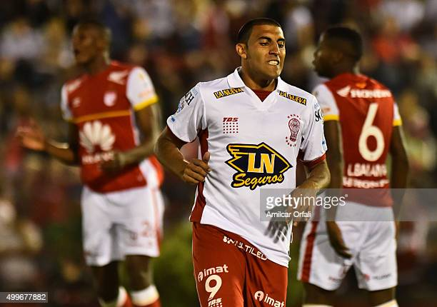 Ramon Abila of Huracan reacts during a first leg final match between Huracan and Independiente Santa Fe as part of Copa Sudamericana 2015 at Tomas...