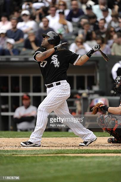 Ramon Castro of the Chicago White Sox bats against the Baltimore Orioles on May 1 2011 at US Cellular Field in Chicago Illinois The Orioles defeated...