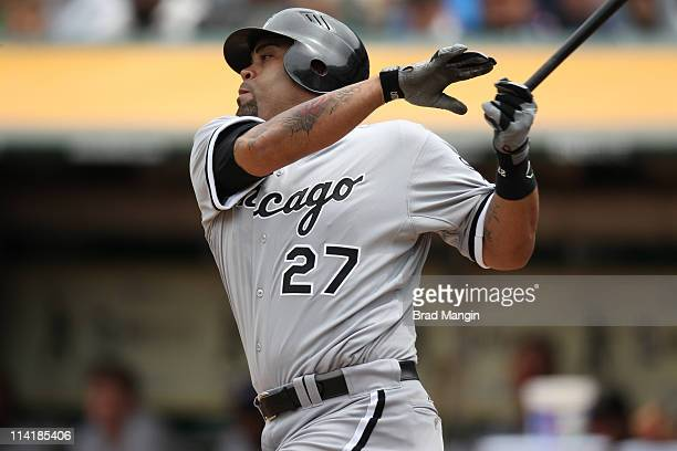 Ramon Castro of the Chicago White Sox bats during the game against the Oakland Athletics at the OaklandAlameda County Coliseum on May 14 2011 in...