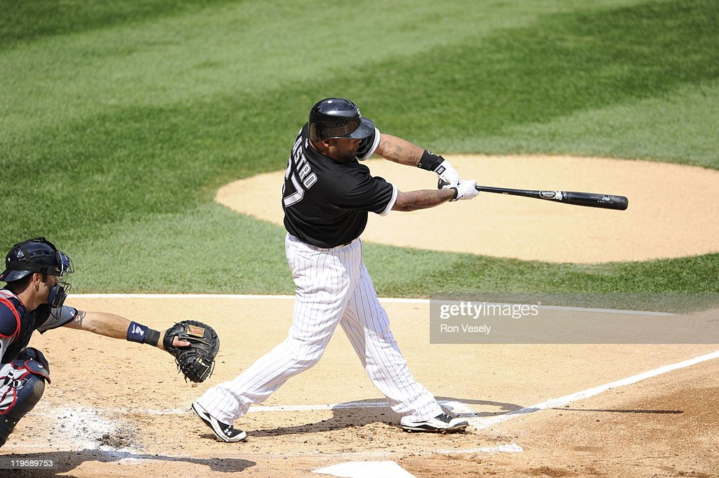 Ramon Castro #27 of the Chicago White Sox bats during the game against the Minnesota Twins on July 9, 2011 at U.S. Cellular Field in Chicago, Illinois. The White Sox defeated the Twins 4-3.
