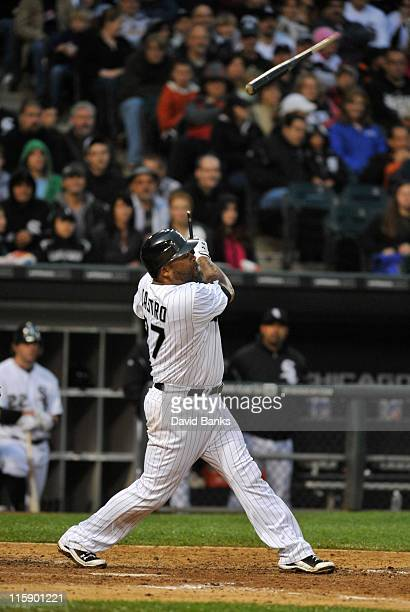 Ramon Castro of the Chicago White Sox breaks his bat against the Oakland Athletics on June 11 2011 at US Cellular Field in Chicago Illinois