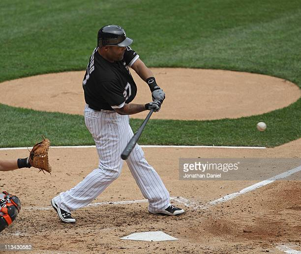 Ramon Castro of the Chicago White Sox hits the ball against the Baltimore Orioles at US Cellular Field on May 1 2011 in Chicago Illinois The Orioles...