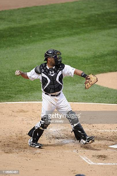 Ramon Castro of the Chicago White Sox throws the ball while catching against the Washington Nationals on June 25 2011 at US Cellular Field in Chicago...