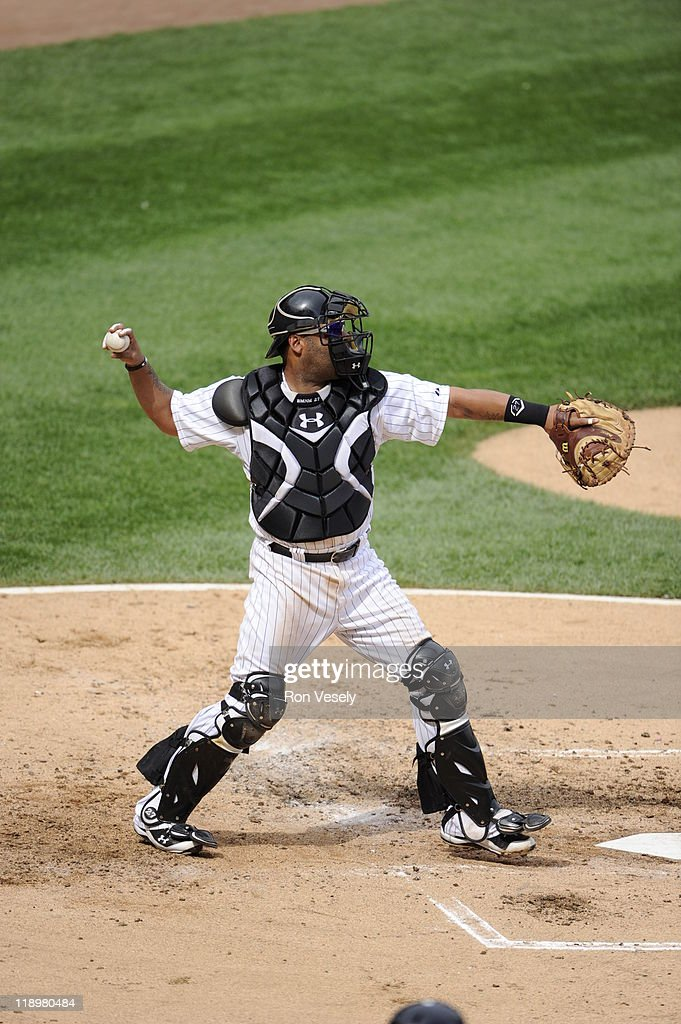 <a gi-track='captionPersonalityLinkClicked' href=/galleries/search?phrase=Ramon+Castro&family=editorial&specificpeople=208997 ng-click='$event.stopPropagation()'>Ramon Castro</a> #27 of the Chicago White Sox throws the ball while catching against the Washington Nationals on June 25, 2011 at U.S. Cellular Field in Chicago, Illinois. The White Sox defeated the Nationals 3-0.