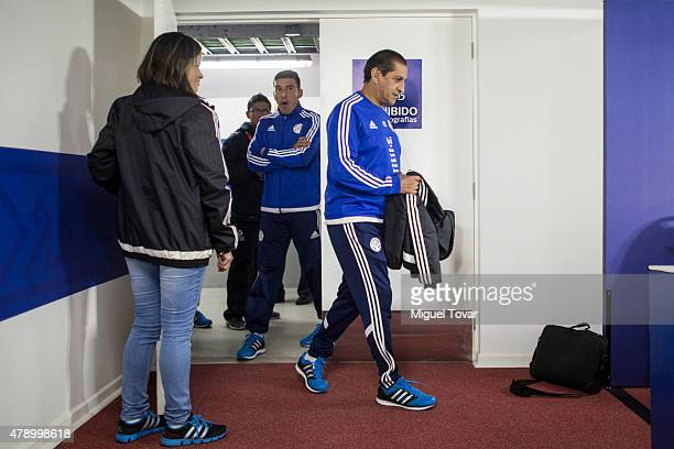 Ramon Diaz coach of Paraguay and Edgar Benitez arrive at a press conference at Alcaldesa Ester Roa Rebolledo Municipal Stadium on June 29 2015 in...