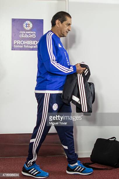 Ramon Diaz coach of Paraguay arrives at a press conference at Alcaldesa Ester Roa Rebolledo Municipal Stadium on June 29 2015 in Concepcion Chile...