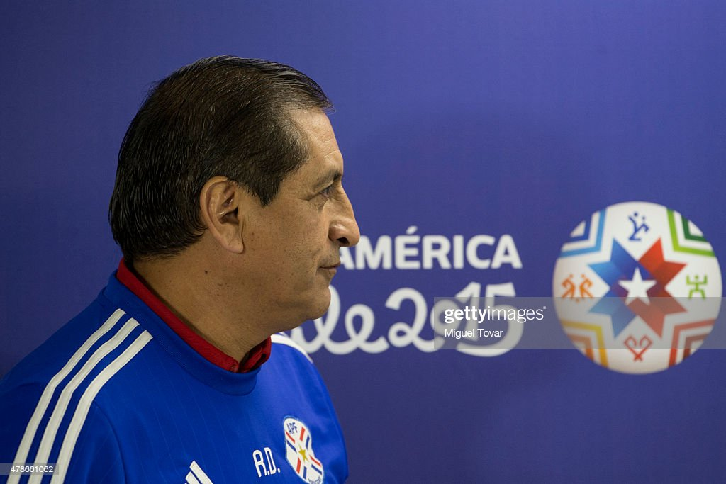 <a gi-track='captionPersonalityLinkClicked' href=/galleries/search?phrase=Ramon+Diaz&family=editorial&specificpeople=2607555 ng-click='$event.stopPropagation()'>Ramon Diaz</a> coach of Paraguay arrives at the press conference at Alcaldesa Ester Roa Rebolledo Municipal Stadium on June 26 2015 in Concepcion, Chile. Paraguay will face Brazil as part of 2015 Copa America Chile quarter final on June 27.