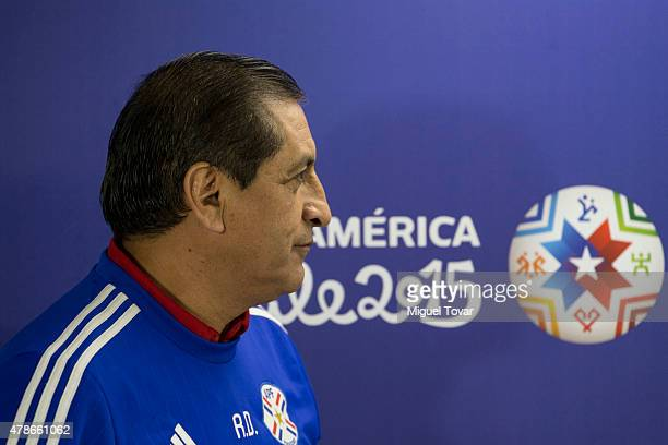 Ramon Diaz coach of Paraguay arrives at the press conference at Alcaldesa Ester Roa Rebolledo Municipal Stadium on June 26 2015 in Concepcion Chile...