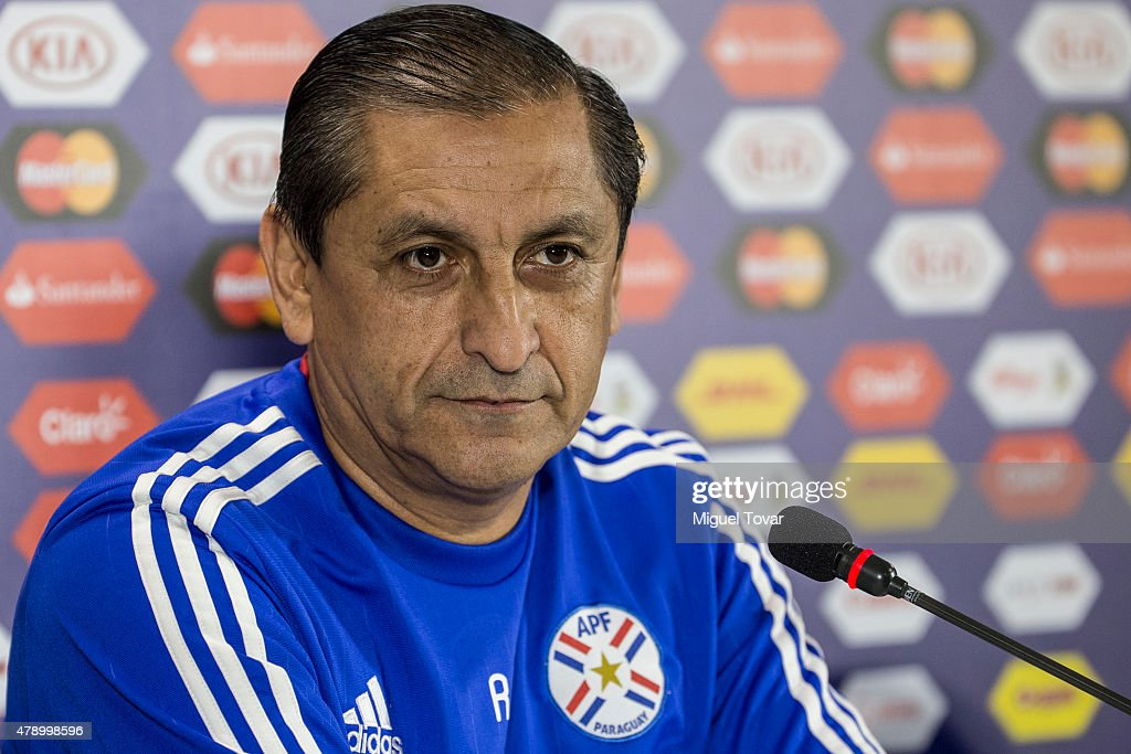 <a gi-track='captionPersonalityLinkClicked' href=/galleries/search?phrase=Ramon+Diaz&family=editorial&specificpeople=2607555 ng-click='$event.stopPropagation()'>Ramon Diaz</a> coach of Paraguay attends during a press conference at Alcaldesa Ester Roa Rebolledo Municipal Stadium on June 29 2015 in Concepcion, Chile. Paraguay will face Argentina as part of 2015 Copa America Chile Semi Final on June 30.