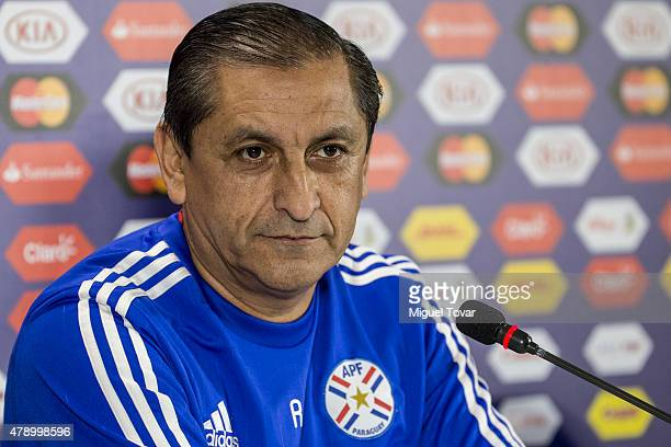 Ramon Diaz coach of Paraguay attends during a press conference at Alcaldesa Ester Roa Rebolledo Municipal Stadium on June 29 2015 in Concepcion Chile...