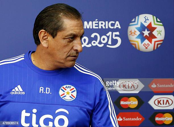 Ramon Diaz coach of Paraguay during a press conference at La Portada Stadium on June 12 2015 in La Serena Chile Paraguay will face Argentina as part...